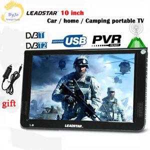 LEADSTAR D10 10 인치 휴대용 TV 디지털 플레이어 DVB-T / T2 / ISDB / 아날로그 일체형 MINI TV 지원 USB / TFTV 프로그램 자동차 충전기 선물