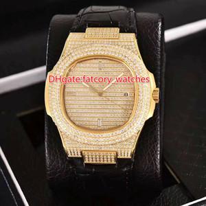 Caja de reloj de oro completamente helada con correa de cuero cristal de zafiro brillante diamantes brillantes moda de lujo automático 2813 relojes