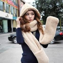 Wholesale-New 2015 Winter  Fashion Fur Hats For Women Hat Scarf Gloves Triad Hat And Scarf Set For Women 4 kinds of color