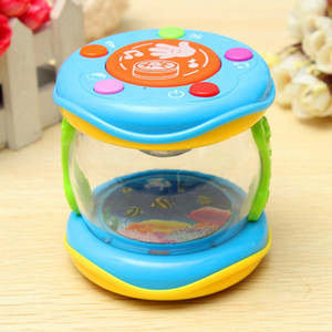 LED Müzik Erken Çocukluk Eğitim Öğrenme Gelişim Bebek Çıngıraklar Komik Çocuk Bebek Oyuncakları Mini Sihirli El Davul Yendi