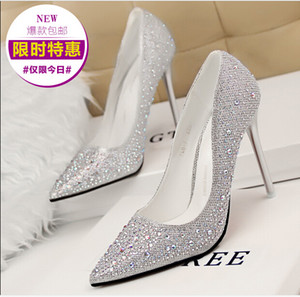 Free Shipping! Jewels Silver Gold Pink Blue Black Gray 10.5cm Heels Bridal Wedding Shoes Party Shoes S730001 Shipping in 24-48 hoours