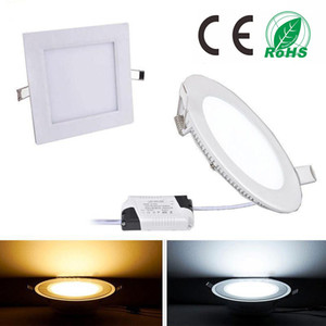 Dimmable Led Panel Light SMD 2835 9W 12W 15W 18W 21W 2200LM 110-240V Led Ceiling lights spotlight lamps downlight lamp + driver