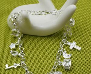 Neue Ankunfts-preiswerte heiße 925 Sterlingsilber-CZ-Kristalledelsteinart und weiseschmucksachekreuz-Mondcharme-Silberfrauenarmband