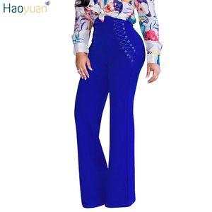 HAOYUAN Wide Leg Pants Autumn 2017 여성 궁전 하이 웨이스트 레이스 업 크로스 붕대 OL 직업 긴 바지 화이트 레드 캐주얼 바지 q1110