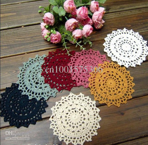 Wholesale - Free shipping 100% cotton COLORFUL Doily hand made Crochet cup mat-11CM round 20 PCS LOT zp014