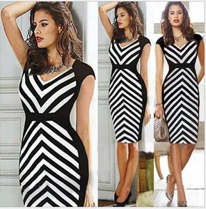Плюс Размер зебра полосатая оболочки V-образным вырезом женщин платье партии работа платье офис леди Черный Белый карандаш летнее платье стиля до 2XL