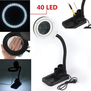 돋보기 공예 5X 10X 돋보기와 유리 책상 램프 및 40 LED 테이블 조명 책상 램프 실내 밤 빛 Led 미러 램프