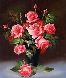 trasporto libero Pittura diamante fai da te fiore rosa adesivo punto croce adesivo da parete diamante ricamo Resina diamante rotondo craftssize40 * 46