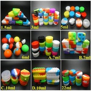 Les contenants en silicone pour la cire réutilisable cire silicone Box DAB 6 + 1 2 en 1 étui en silicone 1.5ML / 3ML / 5ml / 6ML / 7ml / 10ML / 22ml