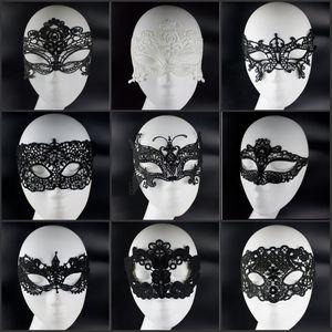 Ucuz Satış Moda Tasarım Siyah Beyaz Dantel Masquerade Yüz Maskeleri Cadılar Bayramı Noel Partisi Süslemeleri Takı Malzemeleri Ücretsiz Nakliye Için