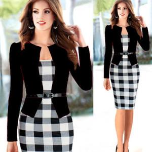 2015 Nw mujeres otoño elegante con cinturón de tartán encaje patchwork túnica Wear to Work negocios lápiz ocasional Wiggle vestido de la envoltura