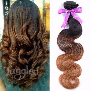 7A Grade 100% de cheveux humains non transformés Brésiliens Body Wave Ombre Bundles de tissage de cheveux 3 lot de 100g / faisceaux Ombre Extension de cheveux 3 tons 1B / 4/30