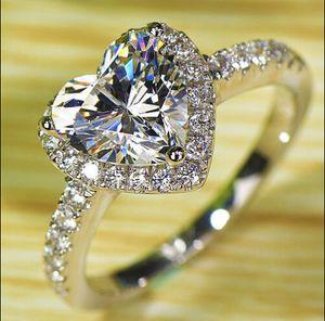 Coeur de luxe coupé Taille 5/6/7/8/9/10 bijoux en argent sterling 925 Rempli blanc Topaze Gem femmes amants de mariage Bague cadeau avec boîte