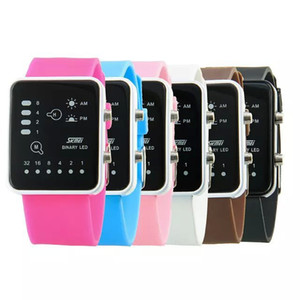 Wholesale-Skmei clock Blue LED Binary Sport Wristwatch relogio Unisex Digital Wrist Watch Classic Waterproof Jelly Fashion Watches reloj