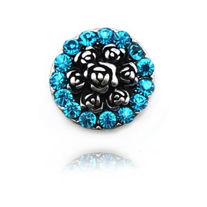 JINGLANG Moda 18mm Botones A Presión Azul Rhinestone Broches de Metal de la Flor de La Vendimia Apta DIY Pulseras Resultados de La Joyería