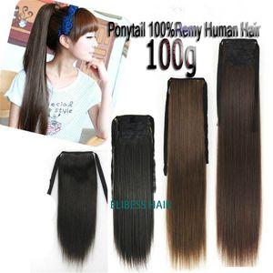 Calidad 8A Remy cabello humano cola de caballo cola de caballo envolver alrededor de las extensiones de cabello accesorios para el cabello, 100g 12-16inch / PC liberan el derramamiento de enredos