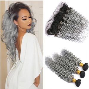 Ombre malayo de plata gris paquetes de cabello humano 3 piezas con encaje frontal 13x4 onda profunda Ombre 1B gris frontal de encaje completo con tejidos