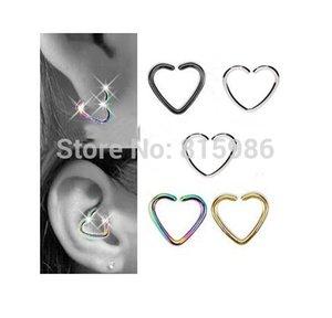 40 Pz / lotto Mix 4 colori In Acciaio Inox a Forma di Cuore Setto Piercing Naso Hoop Daith Helix Cartilagine Labret Piercing Anello