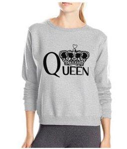 Женские толстовки для толстовки королева напечатанные женщины повседневные простые пуловеры с длинными рукавами O-шеей свободных тройников