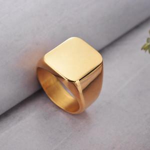 Tou Toso Modeschmuck 3 Farben Schwarz Gold Silber Edelstahl Smooth Titan Ring Quadratische Formgröße 7.8.9.10.11.12 Herrenring