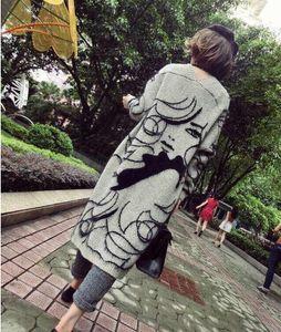 Belleza dama impresión manga larga tejida grande niños ropa muchachas larga cardigan tops niños ropa chaqueta superior Outwear K6434