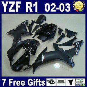 Carrozzeria nera opaca piatta per kit carene YAMAHA R1 2002 2003 YZFR1 YZF R1 Stampato ad iniezione 02 03 Y1229