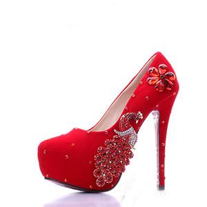 Rouge Robe De Mariée Chaussures En Daim Cuir Strass Phoenix Demoiselle D'honneur Chaussures Alti-slip De Mariage Formelle Chaussures De Mode Femmes Pompes