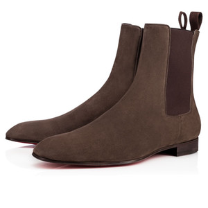 ClassicGenuine Botines de cuero para hombres Slip On Red Bottom Roadie Flat Botines para hombre Women Luxury Designer Outdoor Red Walking EU35-47