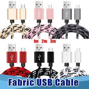Новые высокого качества 1M 2M Тип 3M ИП5 ИП6 IP7 Micro USB V8 с Кабели алюминиевого металла подключи Плетеный данных зарядный кабель провод Шнуры 3FT 6FT 10ft