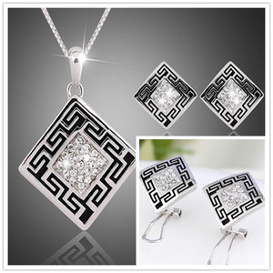 Luxury fashion Austria crystal Rhinestone jewelry Set for Women Including 1 Pair Square CZ Stud Earrings and Pendant Necklace