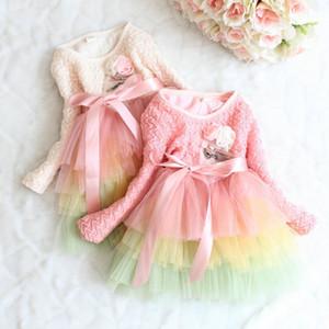 PrettyBaby crianças vestido com flor tutu camada vestido de manga cheia do bebê menina rendas vestido de princesa meninas rainbow dress frete grátis em estoque