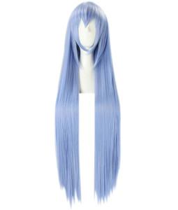 2014 novo frete grátis Akame Ga KILL Cosplay mais recente estilo Esdeath 100 cm (39.4 '') longo gelo azul cabelo liso peruca 350A Hot