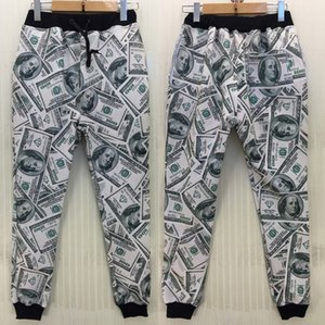 Frete grátis Novos homens / mulheres / menino esporte calças de corrida 3D impressão engraçada EUA dólar parkour correndo sweatpants corredores de manga longa