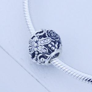 Подходит аутентичные Pandora браслет стерлингового серебра 925 бусины ажурные серебряный dragonfly шарм с CZ оригинальный 1: 1 DIY женщины ювелирные изделия