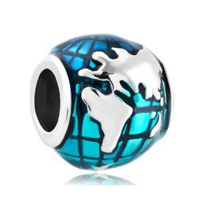 Fashion women jewelry metal blue enameled sea earth globe lucky European spacer bead large hole charms for beaded bracelet
