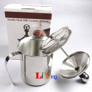 800ml milk frother manual jugs milk mixer foamer milk foam maker coffee maker double mesh creamer Stainless Steel cappuccino milking machine