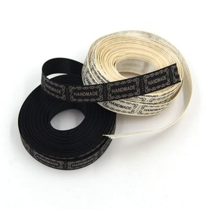10Yard Lot New 13MM Beige And Black Printed Handmade Design Ribbon For Wedding DIY Crafts Gift Packing Belt & Sewing Accessories