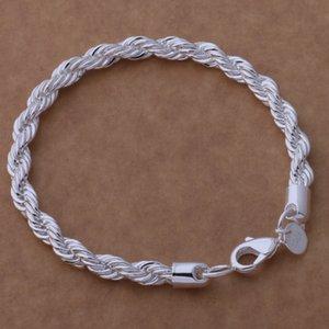 Freies Verschiffen mit Spurhaltungszahl Top Silber 925 Armband 3MM Hanfseil Armband Silber Schmuck 20Pcs / Menge billig 1796