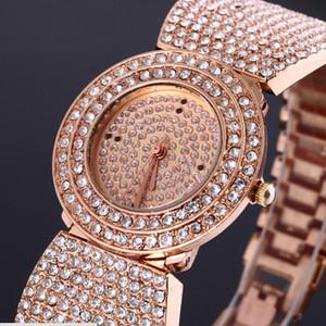 Orologi in oro rosa Bracciale diamante delle donne del vestito delle donne Orologi strass orologi in metallo per le donne di trasporto