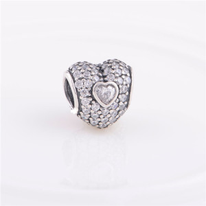Authentic 925 Sterling Silver Pave Triple Heart Bead with white Crystal Fits European Pandora Jewelry Charm Beads Bracelets