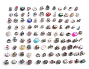 Free shipping 100pcs lot mix style colorful rhinestone metal big hole beads & crystal glass charms fit European DIY bracelet jewelry DIY