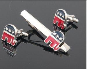 Haute qualité classique républicain éléphant cuff lien et cravate ensembles pour chemise meilleur cadeau mode bijoux livraison gratuite W429