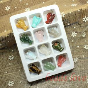VENTA AL POR MAYOR 12pcs Mix Multi-style ángel tallado encantos de piedra natural encontrar colgantes 19mm * 23mm (W02746)