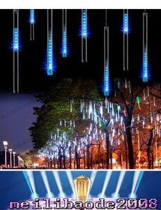 Luce multicolore variopinta 30cm 8pcs / set tubo meteorico tubo pioggia doccia luce nevicata tubo luce impermeabile con adattatore di alimentazione MYY169