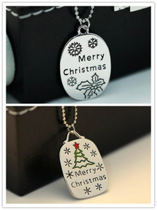 2015 Fashion women Christmas necklace Carving Plating Merry Christmas letters Punk Pendant chain Holiday wear jewelry