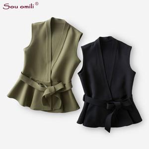 Slim Blazer Materiale Gilet Donna Gilet Donna Giacca sportiva Collo a V Vest Gilet Colete donna con cintura