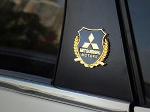 2 pçs / set car styling para Mitsubishi LANCER LANCER-EX ASX Outlander etiqueta do logotipo do metal modificado coluna padrão acessórios do carro