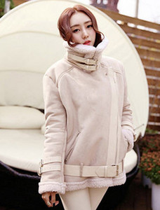 Wholesale-Fall/Winter Woman Ladies Shearling Coats Suede Leather Jackets Plus Size Long Coat Thick Lambs Wool Coat Top S-Xxl Camel D099