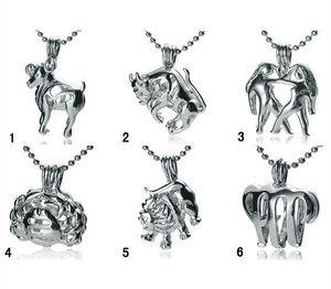 18KGP Fashion Signs of Zodiac Pendant Mountings, dodici costellazioni stile perla / perline gemme gabbia medaglioni fai da te gioielli fascino fortunato n ° 1 ~ n.