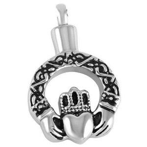 Lily Cremation Jewelry Crown Held Heart Pendant Keepsake Memorial Urn Collar Colgante de acero inoxidable con bolsa de regalo